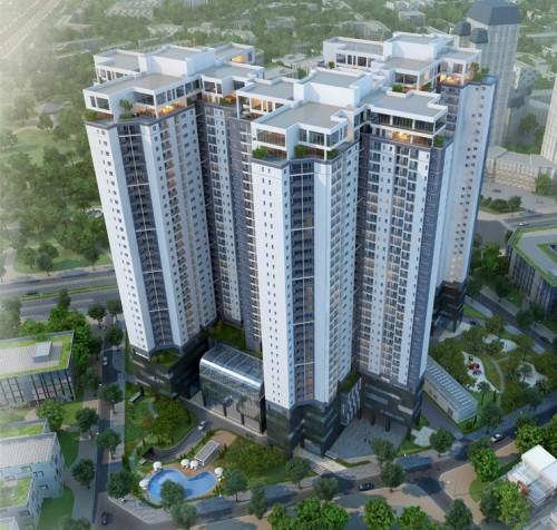 Mô hình tự án tổ hợp văn phòng, thương mại và chung cư cao cấp Golden Palace từ trên xuống