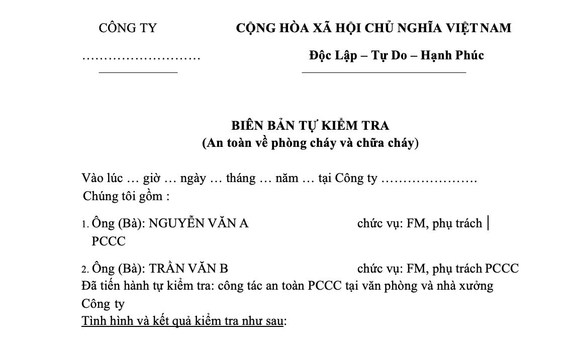 biên bản tự kiểm tra pccc